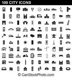 100, ville, style, ensemble, icônes simples