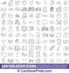 100 violation icons set, outline style