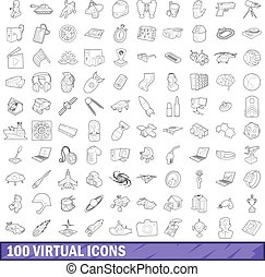 100 virtual icons set, outline style