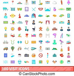 100 visit icons set, cartoon style