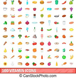 100 vitamin icons set, cartoon style