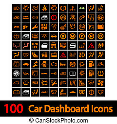 100, voiture, tableau bord, icons.