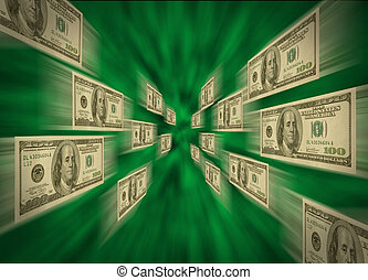 $100, voler, vortex, par, vert, factures
