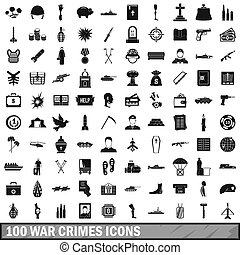100 war crimes icons set, simple style