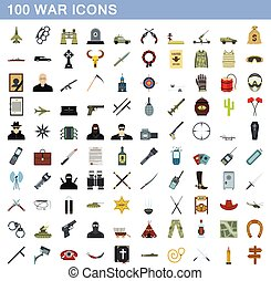 100 war icons set, flat style