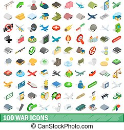 100 war icons set, isometric 3d style