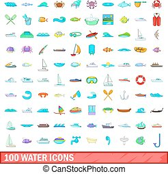 100 water icons set, cartoon style