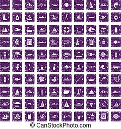 100 water icons set grunge purple