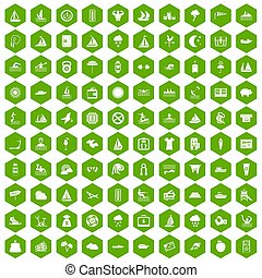 100 water sport icons hexagon green - 100 water sport icons...