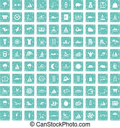 100 water sport icons set grunge blue