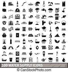 100 water supply icons set, simple style