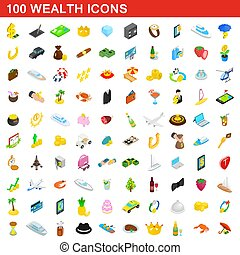 100 wealth icons set, isometric 3d style