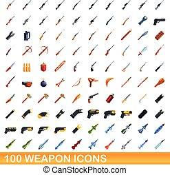 100 weapon icons set, cartoon style