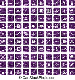 100 weapons icons set grunge purple