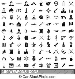 100 weapons icons set, simple style