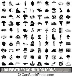 100 weather condition icons set, simple style