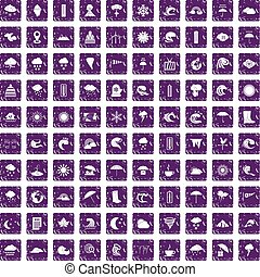 100 weather icons set grunge purple