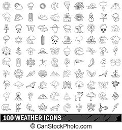 100 weather icons set, outline style