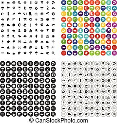 100 weather icons set vector variant