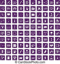 100 webdesign icons set grunge purple