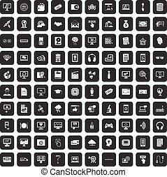 100 website icons set black
