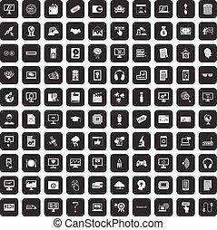 100 website icons set black