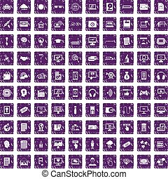 100 website icons set grunge purple