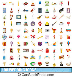 100 wedding icons set, cartoon style