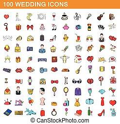 100 wedding icons set, cartoon style