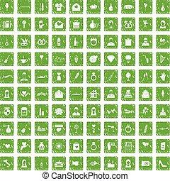 100 wedding icons set grunge green
