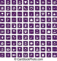 100 wedding icons set grunge purple