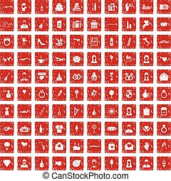 100 wedding icons set grunge red