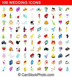 100 wedding icons set, isometric 3d style