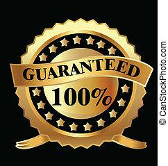 100, wektor, guaranteed, złoty, etykieta