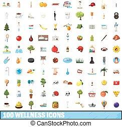 100 wellness icons set, cartoon style