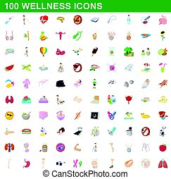 100 wellness icons set, cartoon style