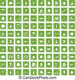 100 wellness icons set grunge green