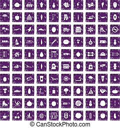 100 wellness icons set grunge purple
