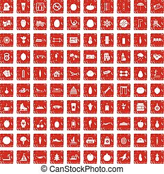 100 wellness icons set grunge red