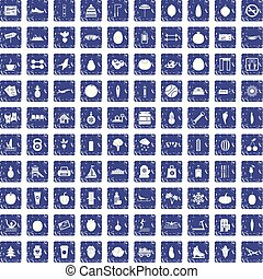 100 wellness icons set grunge sapphire