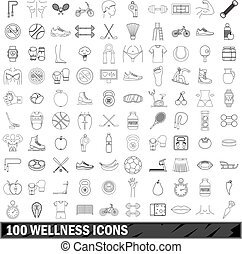 100 wellness icons set, outline style