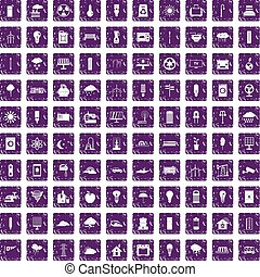 100 windmills icons set grunge purple