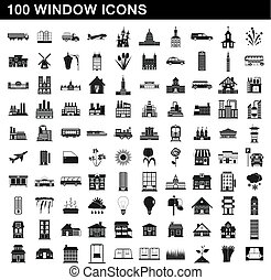 100 window icons set, simple style