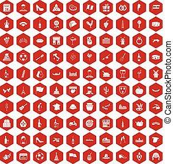 100 wine icons hexagon red