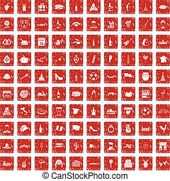 100 wine icons set grunge red