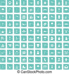 100 winter holidays icons set grunge blue