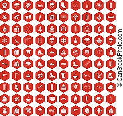 100 winter icons hexagon red - 100 winter icons set in red...