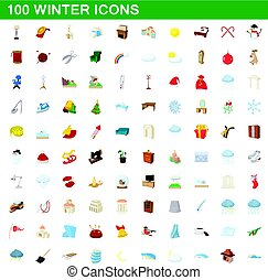 100 winter icons set, cartoon style