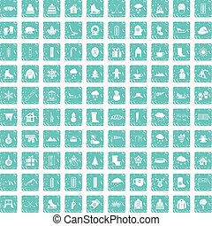 100 winter icons set grunge blue