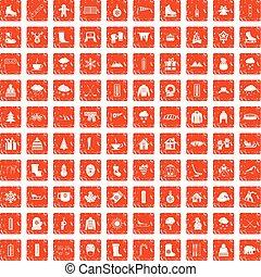 100 winter icons set grunge orange - 100 winter icons set in...